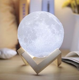 Light-3D Printing Stepless Dimmable Lamp Shade-Warm and White Touch Control Brightness with USB Charging Decor-Lunar Night Light with Wooden Mount-Mo for Sale in Syracuse, NY