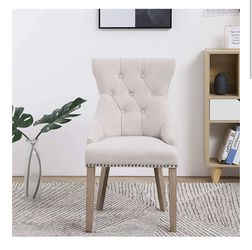 Ivory beige wingback dining chair tufted accent captain highback dining chair NEW multiple available dining chairs beige desk chair for Sale in La Habra,  CA