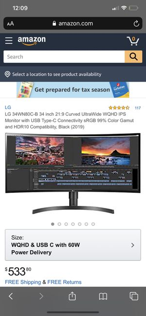 CURVED ULTRAWIDE WQHD HDR LG MONITOR for Sale in Victorville, CA