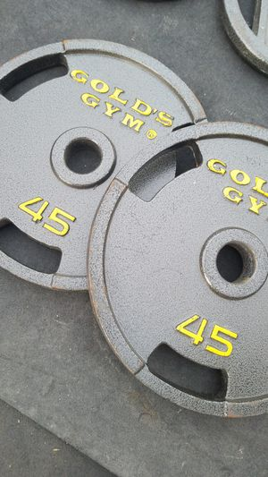 ( EXERCISE FITNESS 365 ) NEW CONDITION PAIR OF 45 LBS GOLDS GYM OLYMPIC WEIGHTS WITH EASY HANDLES for Sale in Long Beach, CA