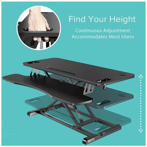 RIF6 Adjustable Height Standing Desk Converter - 37 Inch Wide Laptop Riser or Dual Monitor Workstation with Handles - Easily Sit or Stand for Sale in Montgomery, NJ