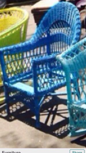 Blue antique wicker chair $199 for Sale in Atlanta, GA