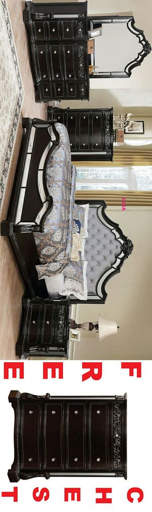Special Item Brand New Nuevo 4 Piece(Bed Frame-Dresser- Mirror-Nightstand)Queen Size Bankston Dark Brown Panel Bedroom Set. King Size Also Available for Sale in Houston, TX
