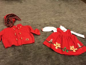Thanksgiving and Christmas baby clothes Thanksgiving and Beautiful nice quality christmas dress and winter coat 6-9 months for Sale in West Springfield, VA