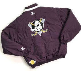 VINTAGE 90's STARTER ANAHEIM MIGHTY DUCKS PUFFER JACKET XL YOUTH BIG LOGO ZIP UP for Sale in Los Angeles,  CA