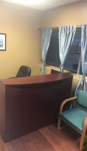 Office Reception desk with filing drawers in Cherry for Sale in Woodbury, NY