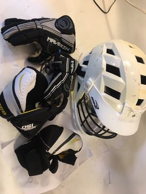 Brine Bauer Lacrosse Helmet and Gloves , elbow pads for Sale in San Diego, CA