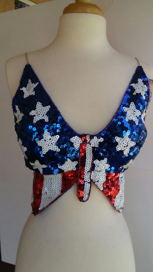 Stars Stripes Butterfly Halter Crop Bikini Top USA Patriotic Red White Blue Adjustable Tie Back $30 for Sale in Inglewood, CA