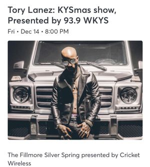 Tory Lanez Ticket for Sale in Fairfax, VA