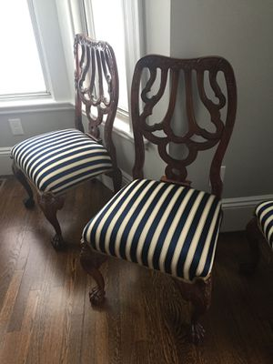Elegant Set 6 Vintage Dining Chairs, Oak, for Sale in Sudbury, MA