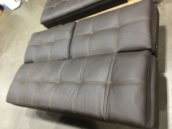Leather futon in brown
