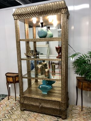 Modern Silver & Gold Leaf Wall Display Cabinet with Adjustable Shelf's, Dimmer Lights and Drawer (Delivery Service Available) for Sale in Boynton Beach, FL