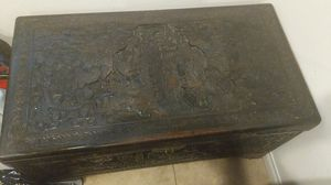 Antique Chinese wooden hand carved chest and table for Sale in Irvine, CA