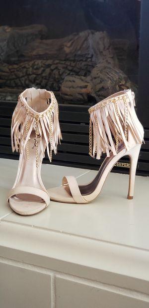 Qupid Nude Stiletto Fringe Sandals for Sale in Sacramento, CA