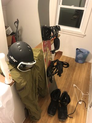 Snowboard, helmet, snow pants, boots, and googles for Sale in Duluth, MN