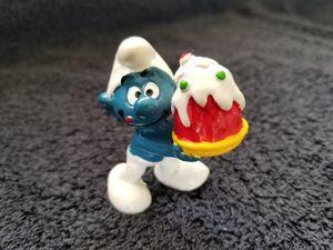Smurfs Birthday Cake Smurf Vintage Party Figure Toy Figurine for Sale in San Diego, CA