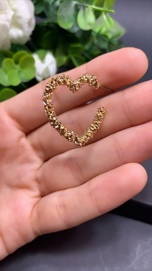 Open Heart Stud Earrings Gold Plated, Gold Color for Sale in Los Angeles, CA