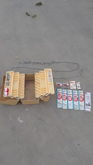 Fishing tackle box with misc supplies for Sale in Hesperia, CA