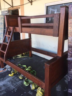 Pinewood bunk beds frame twin-full mattress not included for Sale in Los Angeles, CA