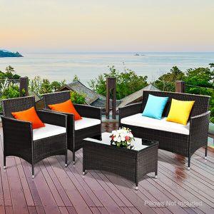 4 Pc Rattan Patio Furniture Set Garden Lawn Sofa Wicker Cushioned Seat Brown for Sale in South El Monte, CA