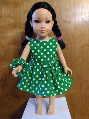 "American Girl Or 18""inch Doll Dress made to fit 18 inches dolls great for gift for Christmas with FREE SCRUNCHY! for Sale in Peoria, IL"