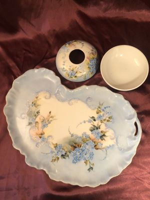 Antique Hand Painted William Guerin (W.G. & Co.) Limoges Dresser Tray & Receiver for Sale in Lancaster, CA