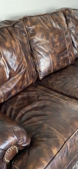Norwalk Aniline Leather 3 Cushion Couch for Sale in Nellis Air Force Base,  NV