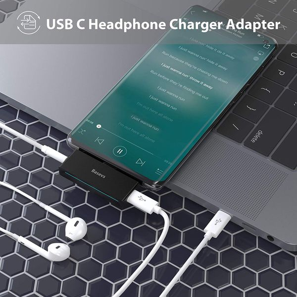 USB C Headphone Charger Adapter, 2-in-1 USB Type C to 3.5mm Pixel 2 Adapter for Headphone Compatible with iPad Pro 2018, Pixel 3/2, Samsung Note8/S8/