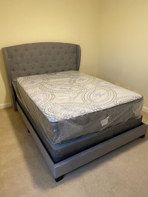 Queen size bed frame with headboard and mattress and box spring included 400$ everything complete bed delivery available brand new for Sale in Chicago, IL