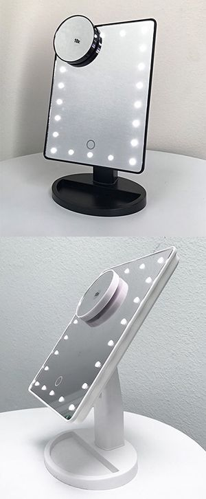 """New in box $15 each 11x6.5"""" LED Vanity Makeup Mirorr Touch Screen Dimming w/ 10x Magnifying (Black or White) for Sale in South El Monte, CA"""