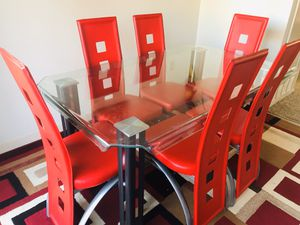 Dining table set red and matching rug with runner for Sale in Modesto, CA