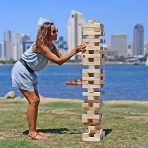 Giant Jenga toppling tower wood blocks outdoor game large generic brand for Sale in San Dimas, CA