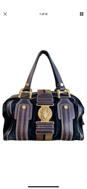 Gucci Aviatrix Black Suede Brown Leather Trim Medium Boston Bag 186235 for Sale in Snellville, GA