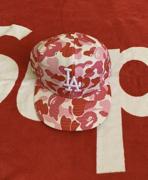 Bape LA New Era hat Pink camo rare 7 1/4 fitted hat rare shark hoodie supreme box logo bbc ice cream diamond dollars for Sale in Los Angeles, CA