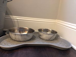 Fake marble bowls with bone dog mat included for Sale in Concord, MA