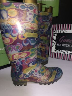 Coach poppy rain boots size 8 very nice for Sale in Dublin, OH