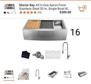 New G. Bay Apron-Front Farmhouse Stainless Steel 33 in. Single Bowl Sink with Faucet and Accessories Retails $430 with Taxes!! for Sale in Rialto, CA