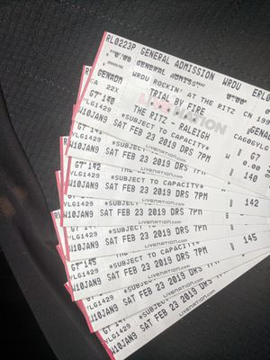 8 tickets for Trial by Fire tonight at The Ritz in Raleigh for Sale in Cary, NC