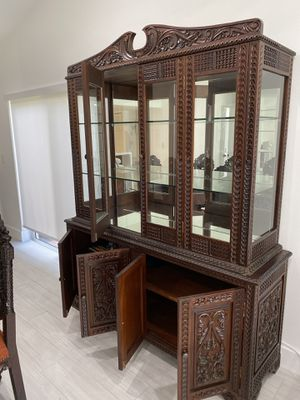 Dining Room antique wood Caoba handcraft ( Cuzco, Peru ) all included for Sale in Fort Lauderdale, FL