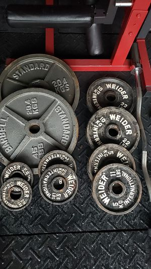 Olympic weight plates and curl bar for Sale in Clermont, FL