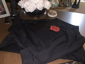 Black long sleeve crop top with rose for Sale in Richmond, CA