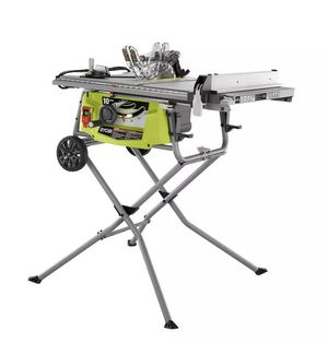 New RYOBI 15 Amp 10 In. Expanded Capacity Table Saw with Rolling Stand 5000 RPM for Sale in St. Petersburg, FL