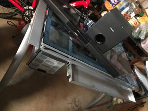 Glass desk and small home theater for Sale in Columbus, OH