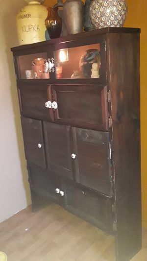 True Antique old wooden light up cabinet for Sale in Pompano Beach, FL