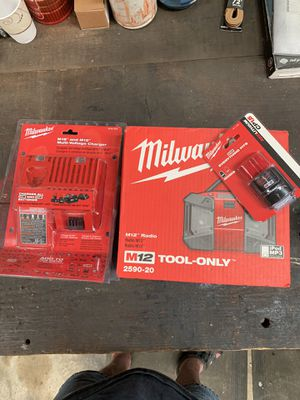 Milwaukee M12 Radio,M18-M12 Multi Charger, M12 Red Lithium Battery for Sale in Kolin, LA
