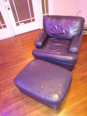 Navy Blue Leather Chair with Ottoman for Sale in Fresno, CA