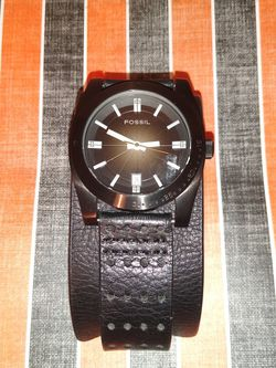 Men's Fossil Watch Genuine Black Leather for Sale in Casselberry,  FL