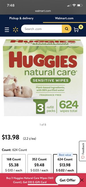 Huggies natural care wipes for Sale in Mineola, NY