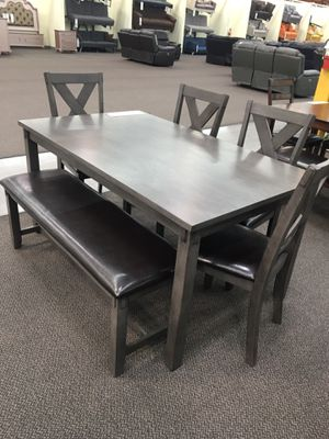 6pcs dining table set grey finish solid wooden for Sale in Long Beach, CA