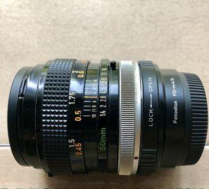 Canon FD 50mm F1.4 S.S.C. Lens with FD to m 3/4 adaptor for Sale in Rockville, MD